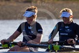 The Boat Race season 2014 - Women's Trial VIIIs (OUWBC, Oxford): Boudicca:  6 Lauren Kedar, 5 Nadine Graedel Iberg.. River Thames between Putney Bridge and Mortlake, London SW15,  United Kingdom, on 19 December 2013 at 12:58, image #186