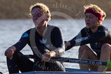 The Boat Race season 2014 - Women's Trial VIIIs (OUWBC, Oxford): Boudicca: C Stroke Anastasia Chitty, 7 Maxie Scheske.. River Thames between Putney Bridge and Mortlake, London SW15,  United Kingdom, on 19 December 2013 at 12:58, image #188
