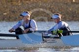 The Boat Race season 2014 - Women's Trial VIIIs (OUWBC, Oxford): Cleopatra: 2 Chloe Farrar, Bow Elizabeth Fenje.. River Thames between Putney Bridge and Mortlake, London SW15,  United Kingdom, on 19 December 2013 at 12:58, image #191