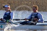 The Boat Race season 2014 - Women's Trial VIIIs (OUWBC, Oxford): Cleopatra:  4 Hannah Ledbury, 3 Isabelle Evans.. River Thames between Putney Bridge and Mortlake, London SW15,  United Kingdom, on 19 December 2013 at 12:58, image #192