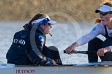 The Boat Race season 2014 - Women's Trial VIIIs (OUWBC, Oxford): Cleopatra: Cox Olivia Cleary, Stroke Laura Savarese.. River Thames between Putney Bridge and Mortlake, London SW15,  United Kingdom, on 19 December 2013 at 12:58, image #195