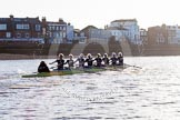 The Boat Race season 2014 - Women's Trial VIIIs (OUWBC, Oxford): Boudicca: Cox Erin Wysocki-Jones, Stroke Anastasia Chitty, 7 Maxie Scheske, 6 Lauren Kedar, 5 Nadine Graedel Iberg, 4 Hannah Roberts, 3 Clare Jamison, 2 Dora Amos, Bow Merel Lefferts.. River Thames between Putney Bridge and Mortlake, London SW15,  United Kingdom, on 19 December 2013 at 12:59, image #200
