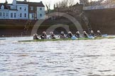The Boat Race season 2014 - Women's Trial VIIIs (OUWBC, Oxford): Boudicca: Cox Erin Wysocki-Jones, Stroke Anastasia Chitty, 7 Maxie Scheske, 6 Lauren Kedar, 5 Nadine Graedel Iberg, 4 Hannah Roberts, 3 Clare Jamison, 2 Dora Amos, Bow Merel Lefferts.. River Thames between Putney Bridge and Mortlake, London SW15,  United Kingdom, on 19 December 2013 at 13:00, image #202
