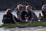 The Boat Race season 2014 - Women's Trial VIIIs (OUWBC, Oxford): Boudicca: Cox Erin Wysocki-Jones, Stroke Anastasia Chitty, 7 Maxie Scheske, 6 Lauren Kedar.. River Thames between Putney Bridge and Mortlake, London SW15,  United Kingdom, on 19 December 2013 at 13:01, image #209