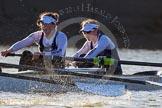 The Boat Race season 2014 - Women's Trial VIIIs (OUWBC, Oxford): Cleopatra: 2 Chloe Farrar, Bow Elizabeth Fenje.. River Thames between Putney Bridge and Mortlake, London SW15,  United Kingdom, on 19 December 2013 at 13:01, image #210