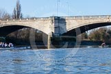 The Boat Race season 2014 - Women's Trial VIIIs (OUWBC, Oxford): Boudicca vs Cleopatra.. River Thames between Putney Bridge and Mortlake, London SW15,  United Kingdom, on 19 December 2013 at 13:04, image #245
