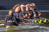 The Boat Race season 2014 - Women's Trial VIIIs (OUWBC, Oxford): Boudicca: Cox Erin Wysocki-Jones, Stroke Anastasia Chitty, 6 Lauren Kedar, 4 Hannah Roberts, 2 Dora Amos, Bow Merel Lefferts.. River Thames between Putney Bridge and Mortlake, London SW15,  United Kingdom, on 19 December 2013 at 13:05, image #253