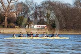 The Boat Race season 2014 - Women's Trial VIIIs(CUWBC, Cambridge): Nudge Nudge: Cox Esther Momcilovic, Stroke Holly Game, 7 Izzy Vyvyan, 6 Kate Ashley, 5 Valentina Futoryanova, 4 Catherine Foot, 3 Hannah Evans, 2 Anouska Bartlett, Bow Lottie Meggitt.. River Thames between Putney Bridge and Mortlake, London SW15,  United Kingdom, on 19 December 2013 at 13:45, image #256