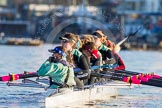 The Boat Race season 2014 - Women's Trial VIIIs(CUWBC, Cambridge): Wink Wink: Cox Priya Crosby, Stroke Melissa Wilson.. River Thames between Putney Bridge and Mortlake, London SW15,  United Kingdom, on 19 December 2013 at 13:46, image #258