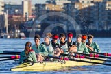 The Boat Race season 2014 - Women's Trial VIIIs(CUWBC, Cambridge): Nudge Nudge: Cox Esther Momcilovic, Stroke Holly Game,7 Izzy Vyvyan, 6 Kate Ashley, 5 Valentina Futoryanova, 4 Catherine Foot, 3 Hannah Evans, 2 Anouska Bartlett, Bow Lottie Meggitt.. River Thames between Putney Bridge and Mortlake, London SW15,  United Kingdom, on 19 December 2013 at 13:49, image #282