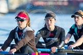 The Boat Race season 2014 - Women's Trial VIIIs(CUWBC, Cambridge): Wink Wink: 6 Fiona Macklin, 5 Caroline Reid, 4 Sara Lackner.. River Thames between Putney Bridge and Mortlake, London SW15,  United Kingdom, on 19 December 2013 at 13:49, image #285