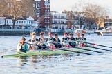 The Boat Race season 2014 - Women's Trial VIIIs(CUWBC, Cambridge): Nudge Nudge: Cox Esther Momcilovic, Stroke Holly Game,7 Izzy Vyvyan, 6 Kate Ashley, 5 Valentina Futoryanova, 4 Catherine Foot, 3 Hannah Evans, 2 Anouska Bartlett, Bow Lottie Meggitt.. River Thames between Putney Bridge and Mortlake, London SW15,  United Kingdom, on 19 December 2013 at 14:02, image #301