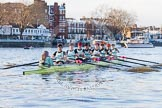 The Boat Race season 2014 - Women's Trial VIIIs(CUWBC, Cambridge): Nudge Nudge: Cox Esther Momcilovic, Stroke Holly Game,7 Izzy Vyvyan, 6 Kate Ashley, 5 Valentina Futoryanova, 4 Catherine Foot, 3 Hannah Evans, 2 Anouska Bartlett, Bow Lottie Meggitt.. River Thames between Putney Bridge and Mortlake, London SW15,  United Kingdom, on 19 December 2013 at 14:02, image #303