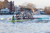 The Boat Race season 2014 - Women's Trial VIIIs(CUWBC, Cambridge): Nudge Nudge: Cox Esther Momcilovic, Stroke Holly Game,7 Izzy Vyvyan, 6 Kate Ashley, 5 Valentina Futoryanova, 4 Catherine Foot, 3 Hannah Evans, 2 Anouska Bartlett, Bow Lottie Meggitt.. River Thames between Putney Bridge and Mortlake, London SW15,  United Kingdom, on 19 December 2013 at 14:02, image #304