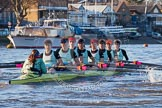 The Boat Race season 2014 - Women's Trial VIIIs(CUWBC, Cambridge): Nudge Nudge: Cox Esther Momcilovic, Stroke Holly Game,7 Izzy Vyvyan, 6 Kate Ashley, 5 Valentina Futoryanova, 4 Catherine Foot, 3 Hannah Evans, 2 Anouska Bartlett, Bow Lottie Meggitt.. River Thames between Putney Bridge and Mortlake, London SW15,  United Kingdom, on 19 December 2013 at 14:02, image #305