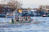 The Boat Race season 2014 - Women's Trial VIIIs(CUWBC, Cambridge): Nudge Nudge: Cox Esther Momcilovic, Stroke Holly Game,7 Izzy Vyvyan, 6 Kate Ashley, 5 Valentina Futoryanova, 4 Catherine Foot, 3 Hannah Evans, 2 Anouska Bartlett, Bow Lottie Meggitt.. River Thames between Putney Bridge and Mortlake, London SW15,  United Kingdom, on 19 December 2013 at 14:02, image #308