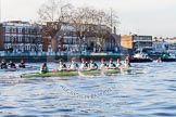 The Boat Race season 2014 - Women's Trial VIIIs(CUWBC, Cambridge): Nudge Nudge vs Wink Wink.. River Thames between Putney Bridge and Mortlake, London SW15,  United Kingdom, on 19 December 2013 at 14:02, image #311