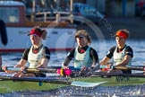 The Boat Race season 2014 - Women's Trial VIIIs(CUWBC, Cambridge): Nudge Nudge: 4 Catherine Foot, 3 Hannah Evans, 2 Anouska Bartlett.. River Thames between Putney Bridge and Mortlake, London SW15,  United Kingdom, on 19 December 2013 at 14:03, image #315