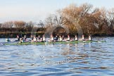 The Boat Race season 2014 - Women's Trial VIIIs(CUWBC, Cambridge): Nudge Nudge vs Wink Wink.. River Thames between Putney Bridge and Mortlake, London SW15,  United Kingdom, on 19 December 2013 at 14:06, image #377