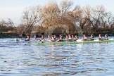 The Boat Race season 2014 - Women's Trial VIIIs(CUWBC, Cambridge): Nudge Nudge vs Wink Wink.. River Thames between Putney Bridge and Mortlake, London SW15,  United Kingdom, on 19 December 2013 at 14:06, image #378