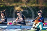 The Boat Race season 2014 - Women's Trial VIIIs(CUWBC, Cambridge): Wink Wink: 5 Caroline Reid, 4 Sara Lackner, 3 Hannah Roberts.. River Thames between Putney Bridge and Mortlake, London SW15,  United Kingdom, on 19 December 2013 at 14:07, image #383