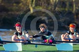 The Boat Race season 2014 - Women's Trial VIIIs(CUWBC, Cambridge): Nudge Nudge: 4 Catherine Foot, 3 Hannah Evans, 2 Anouska Bartlett.. River Thames between Putney Bridge and Mortlake, London SW15,  United Kingdom, on 19 December 2013 at 14:07, image #388