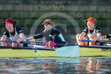 The Boat Race season 2014 - Women's Trial VIIIs(CUWBC, Cambridge): Nudge Nudge:  4 Catherine Foot, 3 Hannah Evans, 2 Anouska Bartlett.. River Thames between Putney Bridge and Mortlake, London SW15,  United Kingdom, on 19 December 2013 at 14:09, image #393