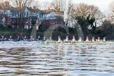 The Boat Race season 2014 - Women's Trial VIIIs(CUWBC, Cambridge): Nudge Nudge vs Wink Wink. River Thames between Putney Bridge and Mortlake, London SW15,  United Kingdom, on 19 December 2013 at 14:09, image #399