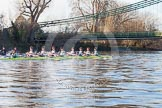 The Boat Race season 2014 - Women's Trial VIIIs(CUWBC, Cambridge): Nudge Nudge: Cox Esther Momcilovic, Stroke Holly Game,7 Izzy Vyvyan, 6 Kate Ashley, 5 Valentina Futoryanova, 4 Catherine Foot, 3 Hannah Evans, 2 Anouska Bartlett, Bow Lottie Meggitt.. River Thames between Putney Bridge and Mortlake, London SW15,  United Kingdom, on 19 December 2013 at 14:09, image #400
