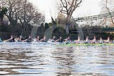 The Boat Race season 2014 - Women's Trial VIIIs(CUWBC, Cambridge): Nudge Nudge vs Wink Wink.. River Thames between Putney Bridge and Mortlake, London SW15,  United Kingdom, on 19 December 2013 at 14:09, image #401