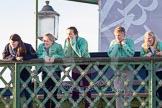 The Boat Race season 2014 - Women's Trial VIIIs(CUWBC, Cambridge): Onlookers watching the race from Hammersmith Bridge.. River Thames between Putney Bridge and Mortlake, London SW15,  United Kingdom, on 19 December 2013 at 14:10, image #403