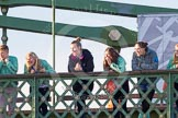 The Boat Race season 2014 - Women's Trial VIIIs(CUWBC, Cambridge): Onlookers watching the race from Hammersmith Bridge.. River Thames between Putney Bridge and Mortlake, London SW15,  United Kingdom, on 19 December 2013 at 14:10, image #404