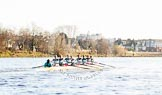 The Boat Race season 2014 - Women's Trial VIIIs(CUWBC, Cambridge): Nudge Nudge: Cox Esther Momcilovic, Stroke Holly Game,7 Izzy Vyvyan, 6 Kate Ashley, 5 Valentina Futoryanova, 4 Catherine Foot, 3 Hannah Evans, 2 Anouska Bartlett, Bow Lottie Meggitt.. River Thames between Putney Bridge and Mortlake, London SW15,  United Kingdom, on 19 December 2013 at 14:16, image #461
