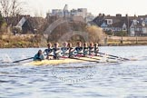 The Boat Race season 2014 - Women's Trial VIIIs(CUWBC, Cambridge): Nudge Nudge: Cox Esther Momcilovic, Stroke Holly Game,7 Izzy Vyvyan, 6 Kate Ashley, 5 Valentina Futoryanova, 4 Catherine Foot, 3 Hannah Evans, 2 Anouska Bartlett, Bow Lottie Meggitt.. River Thames between Putney Bridge and Mortlake, London SW15,  United Kingdom, on 19 December 2013 at 14:17, image #463
