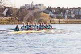 The Boat Race season 2014 - Women's Trial VIIIs(CUWBC, Cambridge): Nudge Nudge: Cox Esther Momcilovic, Stroke Holly Game,7 Izzy Vyvyan, 6 Kate Ashley, 5 Valentina Futoryanova, 4 Catherine Foot, 3 Hannah Evans, 2 Anouska Bartlett, Bow Lottie Meggitt.. River Thames between Putney Bridge and Mortlake, London SW15,  United Kingdom, on 19 December 2013 at 14:17, image #464