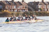 The Boat Race season 2014 - Women's Trial VIIIs(CUWBC, Cambridge): Nudge Nudge: Cox Esther Momcilovic, Stroke Holly Game,7 Izzy Vyvyan, 6 Kate Ashley, 5 Valentina Futoryanova, 4 Catherine Foot, 3 Hannah Evans, 2 Anouska Bartlett, Bow Lottie Meggitt.. River Thames between Putney Bridge and Mortlake, London SW15,  United Kingdom, on 19 December 2013 at 14:17, image #468
