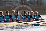 The Boat Race season 2014 - Women's Trial VIIIs(CUWBC, Cambridge): Nudge Nudge: Stroke Holly Game,7 Izzy Vyvyan, 6 Kate Ashley, 5 Valentina Futoryanova, 4 Catherine Foot, 3 Hannah Evans, 2 Anouska Bartlett, Bow Lottie Meggitt.. River Thames between Putney Bridge and Mortlake, London SW15,  United Kingdom, on 19 December 2013 at 14:18, image #470