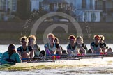The Boat Race season 2014 - Women's Trial VIIIs(CUWBC, Cambridge): Nudge Nudge: Cox Esther Momcilovic, Stroke Holly Game,7 Izzy Vyvyan, 6 Kate Ashley, 5 Valentina Futoryanova, 4 Catherine Foot, 3 Hannah Evans, 2 Anouska Bartlett, Bow Lottie Meggitt.. River Thames between Putney Bridge and Mortlake, London SW15,  United Kingdom, on 19 December 2013 at 14:18, image #472