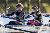 The Boat Race season 2014 - Women's Trial VIIIs(CUWBC, Cambridge): Wink Wink: 3 Hannah Roberts, 2 Sarah Crowther.. River Thames between Putney Bridge and Mortlake, London SW15,  United Kingdom, on 19 December 2013 at 14:18, image #475