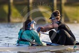 The Boat Race season 2014 - Women's Trial VIIIs(CUWBC, Cambridge): Wink Wink: Cox Priya Crosby, Stroke Melissa Wilson.. River Thames between Putney Bridge and Mortlake, London SW15,  United Kingdom, on 19 December 2013 at 14:18, image #478