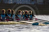 The Boat Race season 2014 - Women's Trial VIIIs(CUWBC, Cambridge): Nudge Nudge:7 Izzy Vyvyan, 6 Kate Ashley, 5 Valentina Futoryanova, 4 Catherine Foot, 3 Hannah Evans, 2 Anouska Bartlett, Bow Lottie Meggitt.. River Thames between Putney Bridge and Mortlake, London SW15,  United Kingdom, on 19 December 2013 at 14:18, image #479