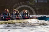 The Boat Race season 2014 - Women's Trial VIIIs(CUWBC, Cambridge): Nudge Nudge: 6 Kate Ashley, 5 Valentina Futoryanova, 4 Catherine Foot, 3 Hannah Evans, 2 Anouska Bartlett, Bow Lottie Meggitt.. River Thames between Putney Bridge and Mortlake, London SW15,  United Kingdom, on 19 December 2013 at 14:19, image #485