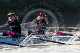 The Boat Race season 2014 - Women's Trial VIIIs(CUWBC, Cambridge): Wink Wink:  2 Sarah Crowther, Bow Ella Barnard.. River Thames between Putney Bridge and Mortlake, London SW15,  United Kingdom, on 19 December 2013 at 14:21, image #512