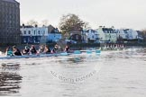 The Boat Race season 2014 - Women's Trial VIIIs(CUWBC, Cambridge): Nudge Nudge vs Wink Wink.. River Thames between Putney Bridge and Mortlake, London SW15,  United Kingdom, on 19 December 2013 at 14:22, image #518
