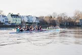 The Boat Race season 2014 - Women's Trial VIIIs(CUWBC, Cambridge): Nudge Nudge vs Wink Wink.. River Thames between Putney Bridge and Mortlake, London SW15,  United Kingdom, on 19 December 2013 at 14:22, image #520