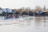 The Boat Race season 2014 - Women's Trial VIIIs(CUWBC, Cambridge): Nudge Nudge vs Wink Wink.. River Thames between Putney Bridge and Mortlake, London SW15,  United Kingdom, on 19 December 2013 at 14:22, image #521
