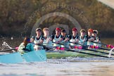 The Boat Race season 2014 - Women's Trial VIIIs(CUWBC, Cambridge): Nudge Nudge: Cox Esther Momcilovic, Stroke Holly Game,7 Izzy Vyvyan, 6 Kate Ashley, 5 Valentina Futoryanova, 4 Catherine Foot, 3 Hannah Evans, 2 Anouska Bartlett, Bow Lottie Meggitt.. River Thames between Putney Bridge and Mortlake, London SW15,  United Kingdom, on 19 December 2013 at 14:23, image #525