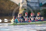 The Boat Race season 2014 - Women's Trial VIIIs(CUWBC, Cambridge): Nudge Nudge: Cox Esther Momcilovic, Stroke Holly Game,7 Izzy Vyvyan, 6 Kate Ashley, 5 Valentina Futoryanova, 4 Catherine Foot, 3 Hannah Evans, 2 Anouska Bartlett, Bow Lottie Meggitt.. River Thames between Putney Bridge and Mortlake, London SW15,  United Kingdom, on 19 December 2013 at 14:23, image #526