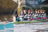 The Boat Race season 2014 - Women's Trial VIIIs(CUWBC, Cambridge): Nudge Nudge: Cox Esther Momcilovic, Stroke Holly Game,7 Izzy Vyvyan, 6 Kate Ashley, 5 Valentina Futoryanova, 4 Catherine Foot, 3 Hannah Evans, 2 Anouska Bartlett, Bow Lottie Meggitt.. River Thames between Putney Bridge and Mortlake, London SW15,  United Kingdom, on 19 December 2013 at 14:23, image #527