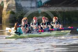 The Boat Race season 2014 - Women's Trial VIIIs(CUWBC, Cambridge): Nudge Nudge: Cox Esther Momcilovic, Stroke Holly Game,7 Izzy Vyvyan, 6 Kate Ashley, 5 Valentina Futoryanova, 4 Catherine Foot, 3 Hannah Evans, 2 Anouska Bartlett, Bow Lottie Meggitt.. River Thames between Putney Bridge and Mortlake, London SW15,  United Kingdom, on 19 December 2013 at 14:23, image #528